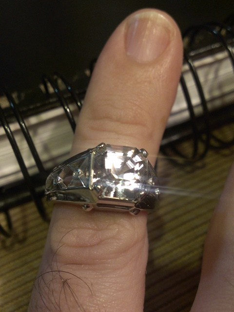 Danburite Asscher Ring