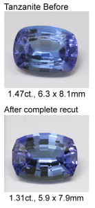 tanzanite recut before-after