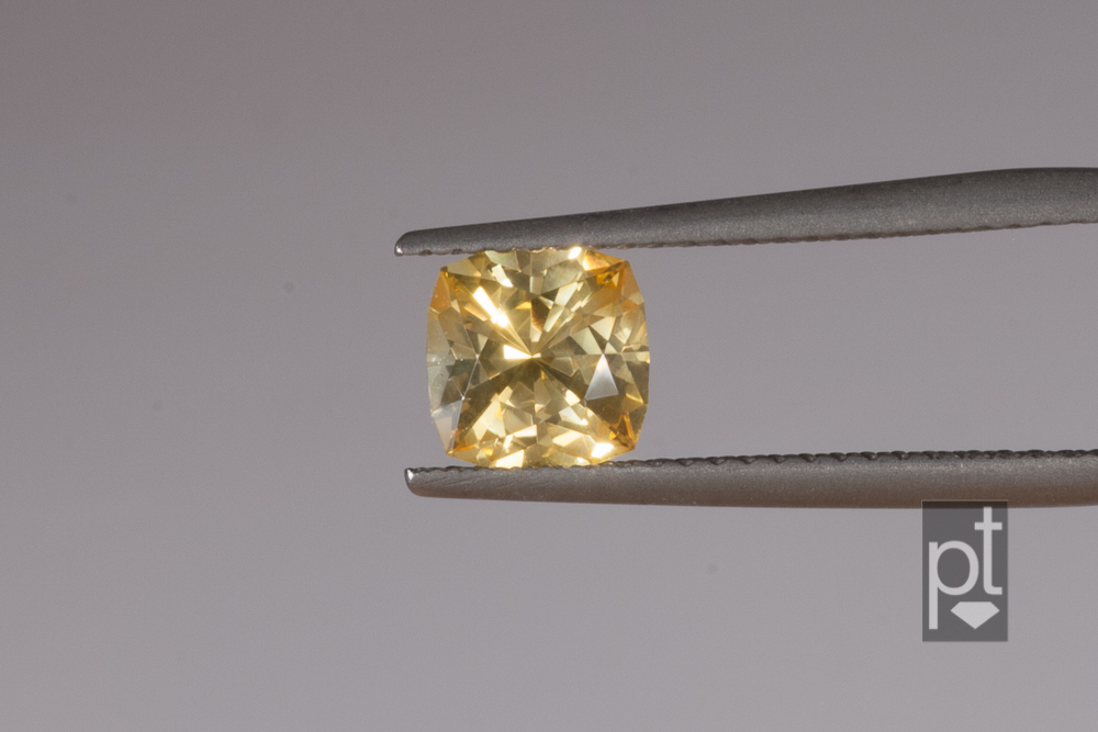 Yellow Sapphire Square Cushion after recutting
