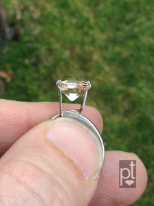Morganite Asscher, daylight, profile