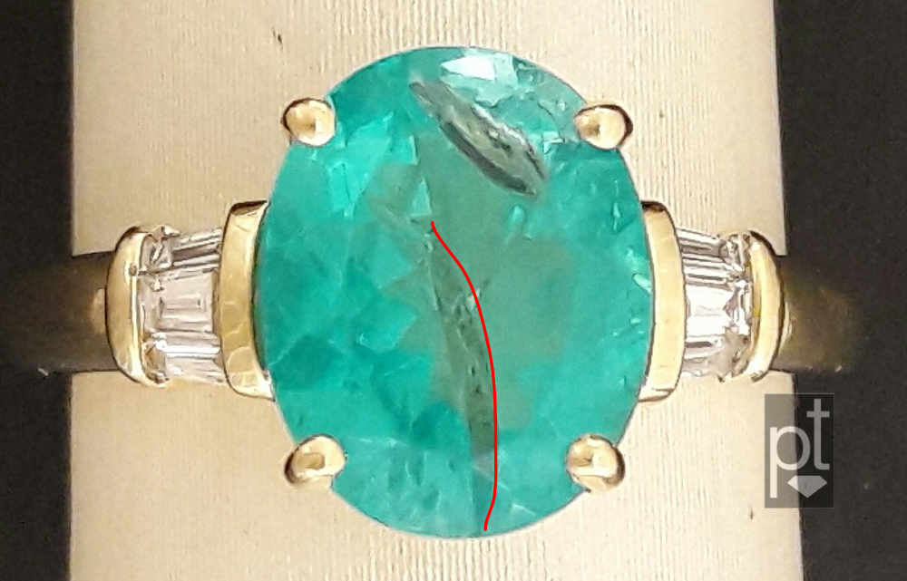 Damaged apatite in ring, highlighted